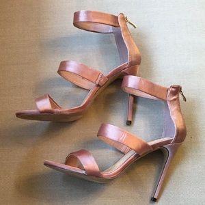 Size 9 rose gold color satin heels zip in back